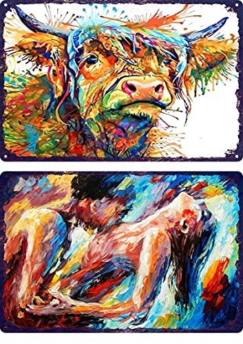 Placa de arte de pared de cartel de chapa de metal vintage 2 piezas Vaca animal acuarela para Pub cobertizo Bar Oficina Hogar Dormitorio Habitación Cocina Regalo Cartel decorativo
