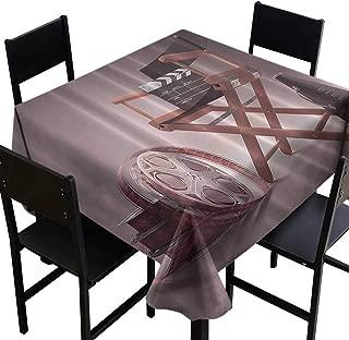 Thanksgiving Tablecloth Directors Chair Seat Movie Lover Film Set Studios Strip Ribbon Storyboard Render Art Digital Print Aubergine Purple Brown,W36 x L36 Table Flag Home Decoration