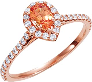 3/8 CTW Diamond and PADPARADSCHA Sapphire Engagement Ring in 14k Rose Gold (Size 6)
