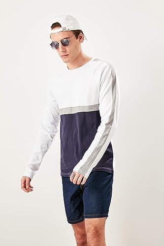 LFNANYI Sweatshirt Confortable en Coton à Manches Courtes Hommes Blancs T-Shirt à Manches Longues et à Manches Longues