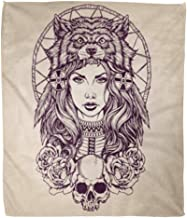 Golee Throw Blanket Red Tattoo Native American Girl Wolf Headdress Lineart Indian Woman 50x60 Inches Warm Fuzzy Soft Blanket for Bed Sofa