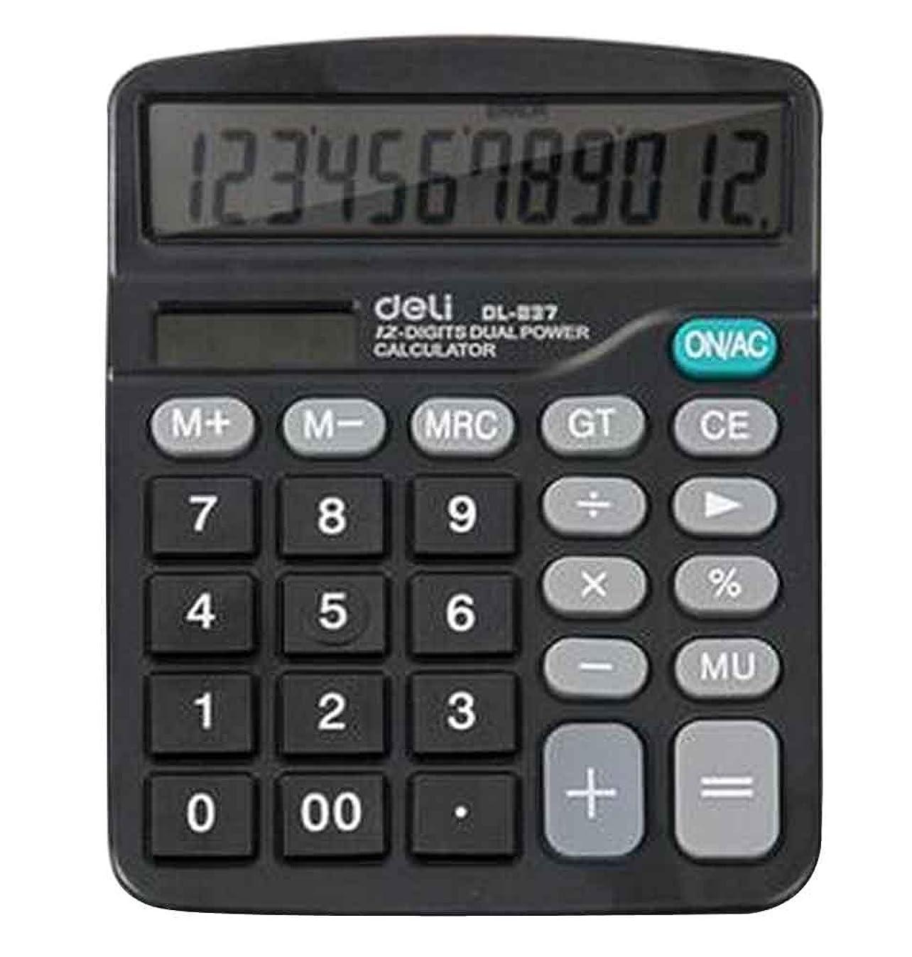 強制リーク必要ない12桁デュアル電源標準機能デスクトップ電卓[B]