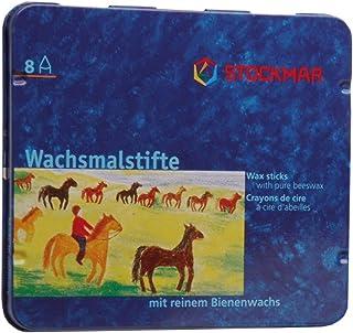 Stockmar FBA_31000 Stockmar Wachsmalstifte 8 Stifte, wasserfest, papergewickelt, aus Bienenwachs, im Blechetui