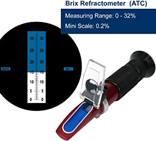 0~32% Brix Hand Held Refractometer(Teflon Coating)with Automatic Temperature Compensation, Rhino Handheld Refractometer Give a Portable Holster