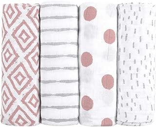 Muselinas para bebés de Emma & Noah, paquete de 4, 100% algodón, 80 cm x 80 cm, paños de muselina suaves para bebé, ideal como pañales de tela, paños de muletón, mantas de lactancia, doudou (Rosa)