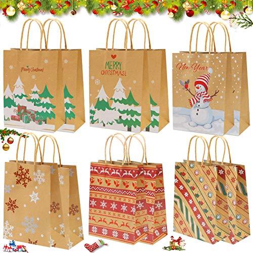 12 PCS Papiertüten,Weihnachten Geschenktaschen,Geschenkbox,Geschenktüten mit Griff Kraftpapier,papiertüten weihnachten,Süßigkeiten Tüten,Geschenktüten,Geschenktüten Weihnachten(E)
