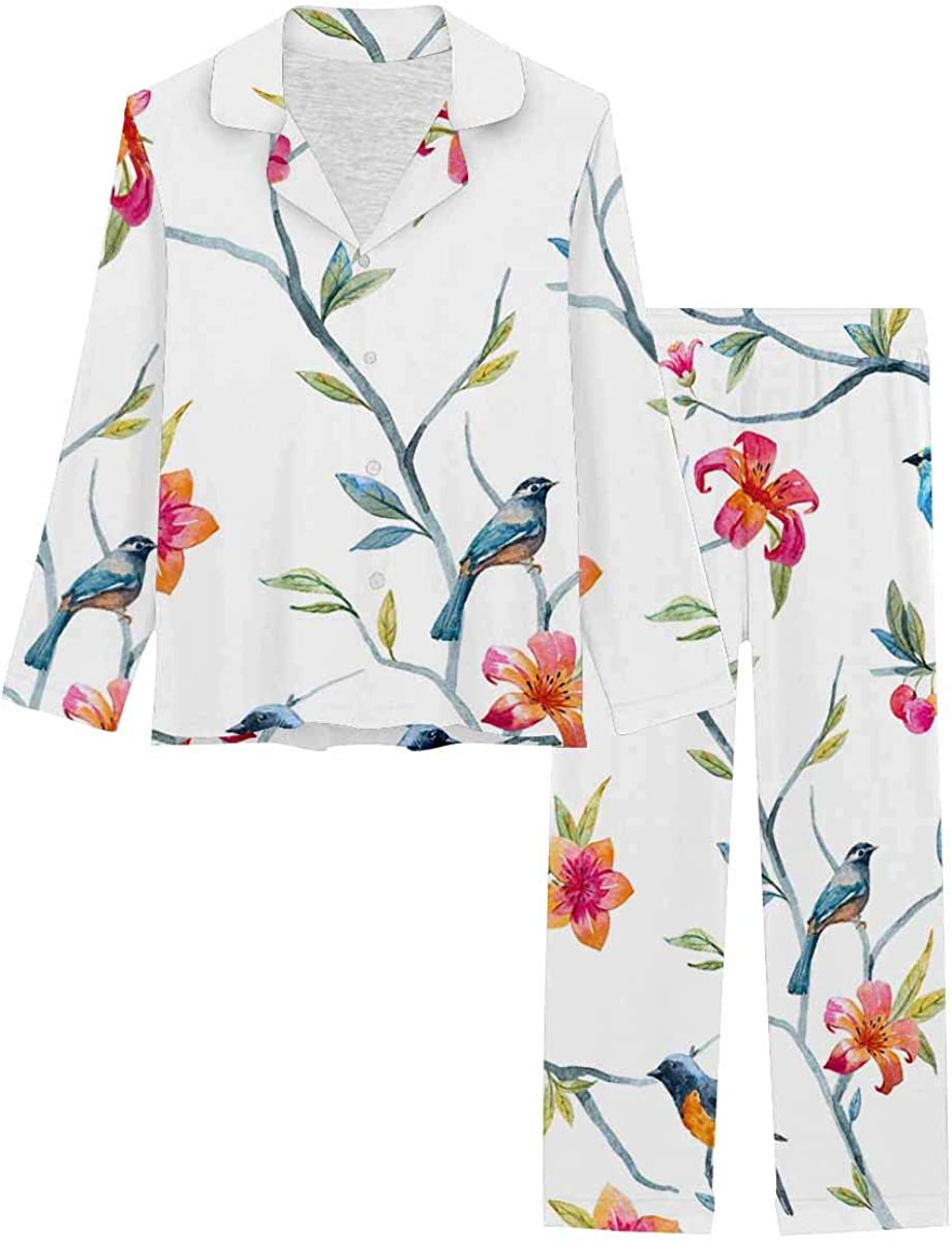 InterestPrint Women's Pajamas Set Long Max OFFicial shop 48% OFF XS with Sleeve Pants