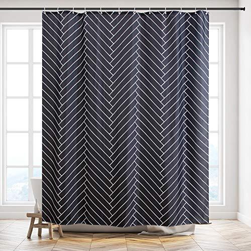 Furlinic Duschvorhang, Textiler Vorhang für Badewanne & Dusche Wasserdicht, Badvorhang Anti-schimmel aus Stoff für Badezimmer Waschbar, Fischgrätenmuster mit 12 Ringe 180x210.