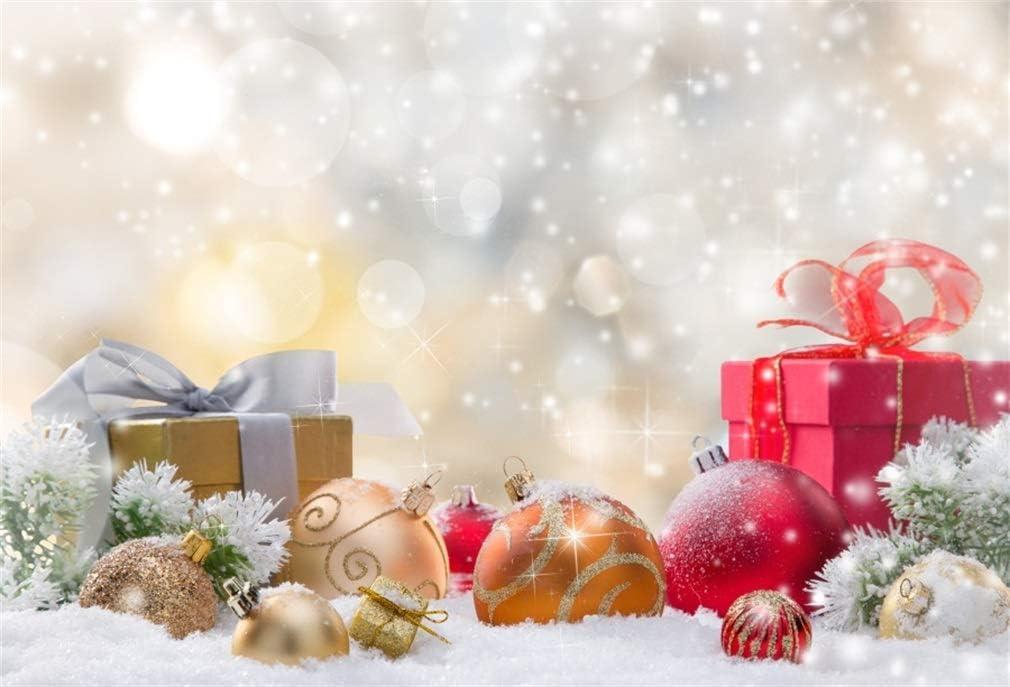 YongFoto 2,2x1,5m Fondos de Navidad Fotografia Cajas de Regalo y Bolas en la Nieve Fondos para Fotos Estudio Fotogr/áfico Accesorios