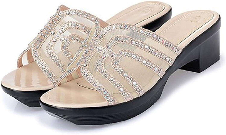 T-JULY Womens Ladies Fashion Wedge Platform Sparkle Glitter Sequins Diamond Slide Sandals Slip On Dressy Sandals