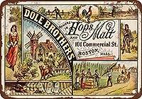 品質のメタルティンサイン1891ドールブラザーズホップ&モルトウォールサインアート鉄の絵レトロなメタルプラーク装飾警告サインカフェバースーパーマーケットカフェテリアホーム