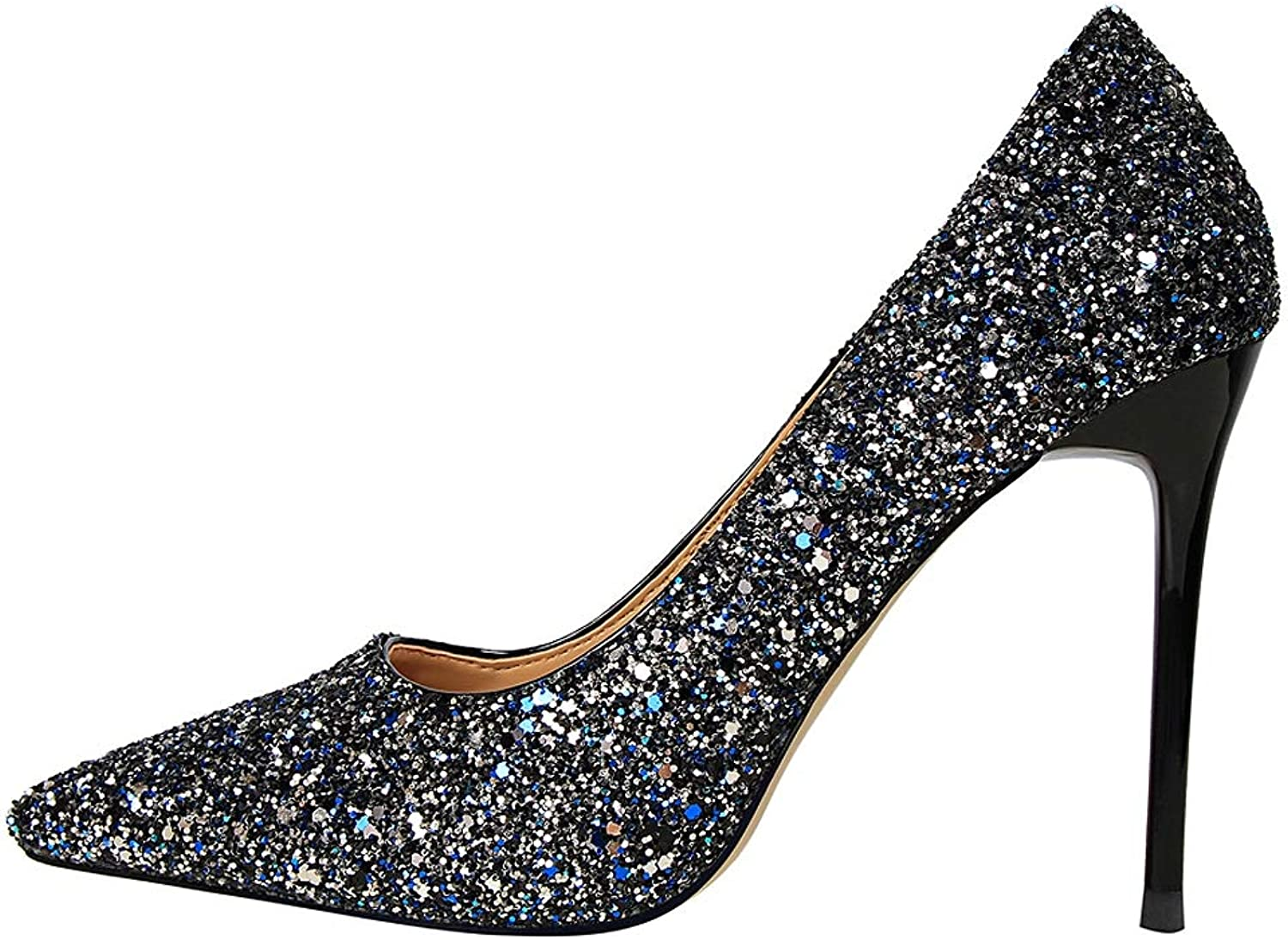 Women's Closed-Toe Pumps Slip On Pointed Stiletto Toe High-Heeled shoes Girls Sexy Black Heeled Glitter Bar shoes