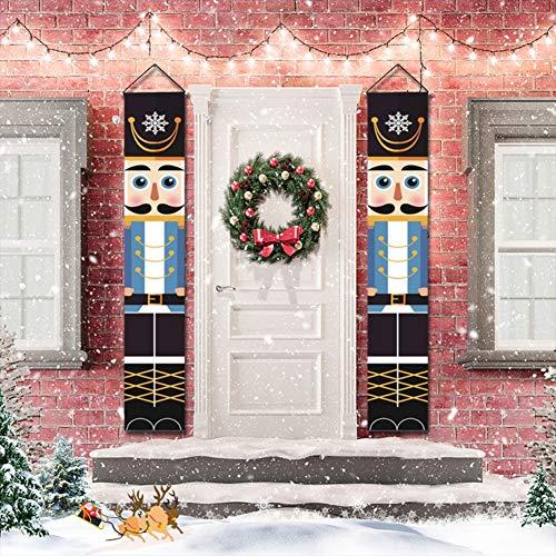 Valcatch Weihnachten Nussknacker Banner - Nussknacker Weihnachten Dekorationen Türschild für Haustür Kamin Garten Indoor Outdoor Kinderparty
