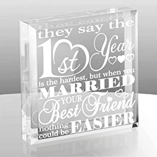 Kate Posh First Wedding Anniversary Paper Gifts - 1st Year of Marriage Engraved Paperweight and Keepsake - Best Friends Wedding Gifts, First (1st), First Year as Husband & Wife