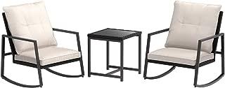 AmazonBasics 3-Piece PE Rattan Wicker Rocking Chair Outdoor Patio Set