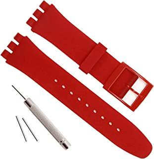 OliBoPo Replacement Waterproof Silicone Rubber Watch Strap Watch Band for Swatch (17mm 19mm 20mm)