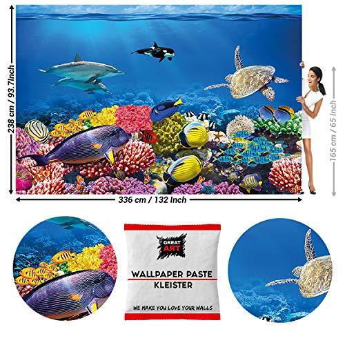 Great Art Fotobehang Ocean Onderwaterwereld Natuur 336 x 238 cm - 8 Teile + Kleister