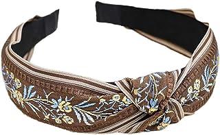 Bodhi2000 - Cerchietto per capelli da donna, motivo floreale etnico, con nodo intrecciato, fascia larga