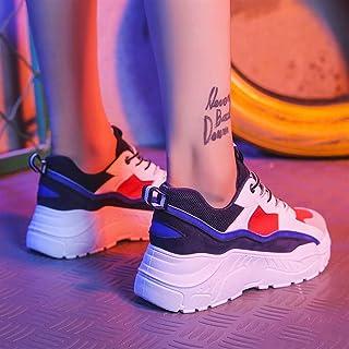 Old Shoes Female Korean Sports Shoes Women's Wild Flame Shoes net red Instant Noodle Shoes (Color : Blue, Size : 36)