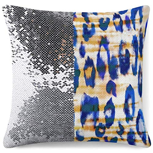 Funny Throw Pillow Cover Reversible Sequin Cushion Cases Leopard Tie Dye Home Couch Decor Gag Gift Custom Pillowcase (16 in x 16 in) 40 cm x 40 cm