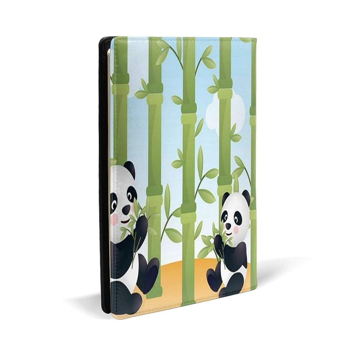 講義ジャンクションクロニクルブックカバー A5文庫カバー レザー皮革製カバー Two Panda柄 おしゃれ ファイル 資料 収納入れ オフィス用品