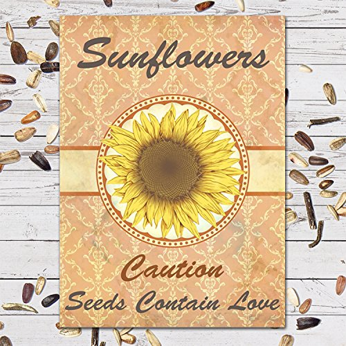 25 Individual Sunflower Seed Favor Packets (F04) Caution, Seeds Contain Love Great for Weddings!