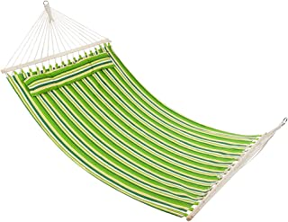 ONCLOUD Quilted Double Hammock with Spreader Bar and Detachable Pillow, Heavy Duty Stylish, Portable, Perfect for Indoor/Outdoor Camping Patio Deck Yard- Green Strips