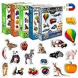 MAGDUM Imanes nevera niños Granja+Zoo+Frutas+Verduras+Transporte - 110 Grandes imanes bebes - Montessori bebe - Animales de juguete - Juguetes bebes - Juegos educativos niños - Nevera juguete - Iman