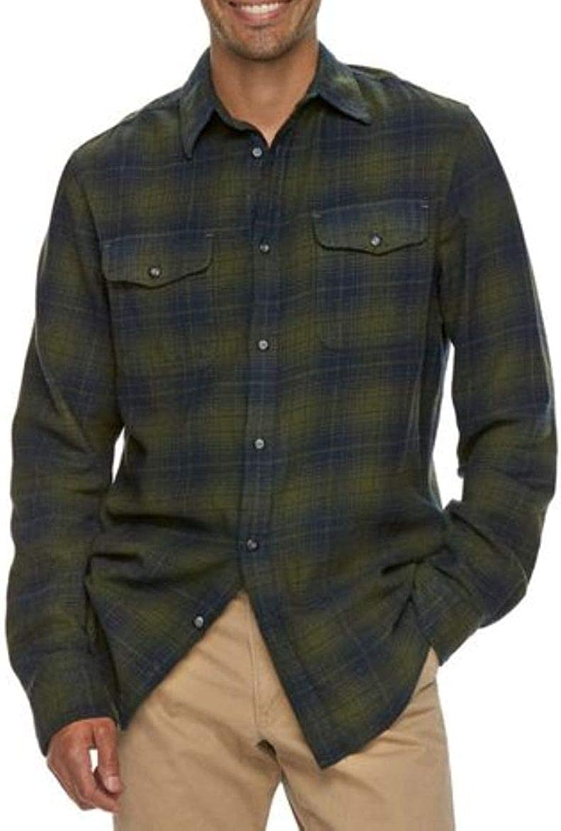 Sonoma Mens Classic Fit Soft Flannel Shirt Dark Green Plaid