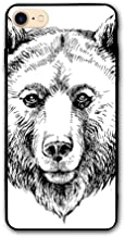 Haixia iPhone 7/8 Phone Shell 4.7 inch Animal Hand Sketch Grizzly Bear Wildlife Mammal Ink Drawing Figure Nature Theme Artwork Black White