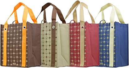 Versailles - Fleur De Lis - Graphic Print Grommet Reinforced Reusable Grocery Tote Bags - Set of 4
