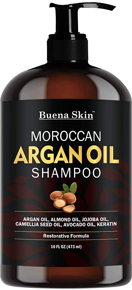 Buena Skin Premium Argan Oil Shampoo - Sulfate Free - Volumizing & Moisturizing, For Men & Women, Curly & Color Treated Hair, Infused with Keratin 16 Oz