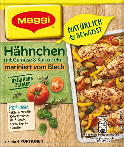 Maggi Natürlich und Bewusst Hähnchen mit Gemüse und Kartoffeln mariniert vom Blech, 27 g Beutel, für 4 Portionen