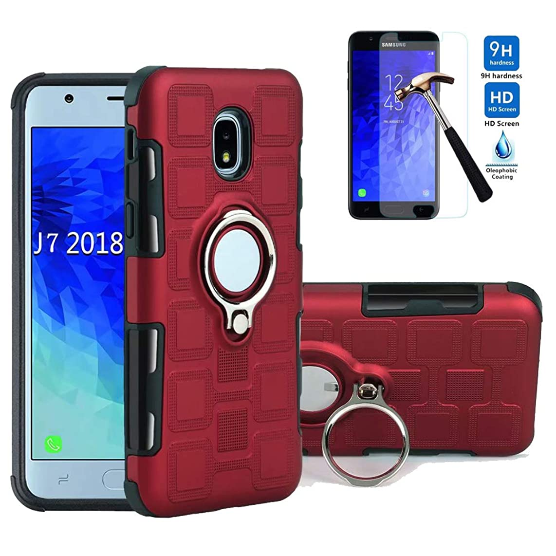 Strug for Samsung Galaxy J7 2018/Galaxy J7 Refine/J7 Star/J7 TOP/J7 V 2nd Gen/J7 Aero/J7 Aura/J7 Crown Case,[Tempered Glass Screen Protector] Dual Layer 360 Degree Rotating Kickstand Case(Red)