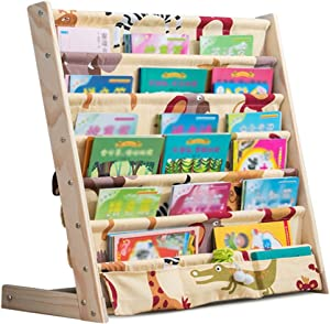 XJJUN-Sling Bookshelf Sling Bookshelf Simple Floor-Standing 6 Layer Storage Bags High Capacity Child Washable Bedroom Wood Durable (Color : B, Size : 75x30x79cm)