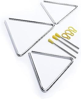 Instrumento de percusión, diseño musical tallado en triángulo, 3 piezas, metal, 6 pulgadas, 7 pulgadas, 8 pulgadas, para e...