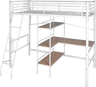 Tidyard Lit Mezzanine avec Bureau en Métal Style Moderne Blanc/Marron 200x90 cm