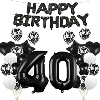 40th Birthday Balloon 40th Birthday Decorations Black 40 Balloons Happy 40th Birthday Party Supplies Number 40 Foil Mylar ...
