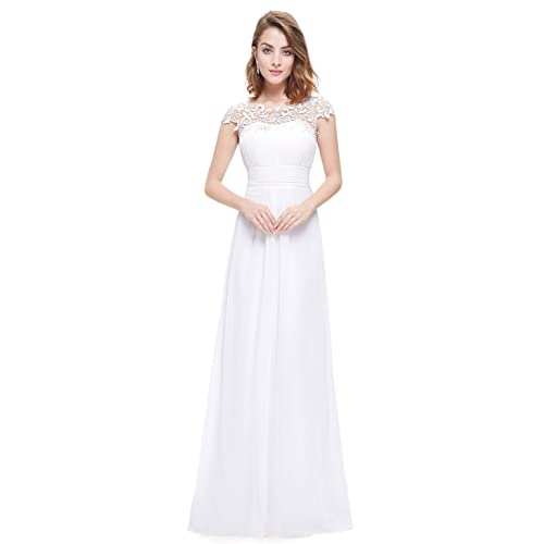 44f685ee30b Ever-Pretty Womens Cap Sleeve Lace Neckline Ruched Bust Evening Gown 09993