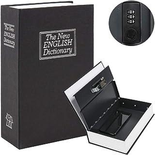 Diversion Book Safe with Combination Lock, Safe Secret Hidden Metal Lock Box,Money Hiding Box,Collection Box Black Large