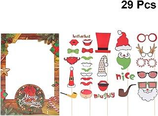Amosfun 29 Piezas Kit de Photo Booth Props Photocall Foto Marco Cabina De Fotos Accesorios Selfie Navidad Papa Noel Gafa Boda Cumpleaños Despedida De Soltera Fiesta