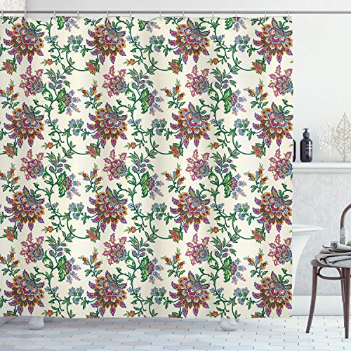"""Ambesonne Bohemian Shower Curtain, Retro Colorful Flowers Pattern Exquisite Blooms Boho Vintage Floral Art, Cloth Fabric Bathroom Decor Set with Hooks, 75"""" Long, Cream Green"""