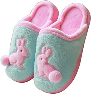 Blubi Women's Plush Closed Toe Bunny Slippers Warm Cute Slippers (8, Sky Blue)