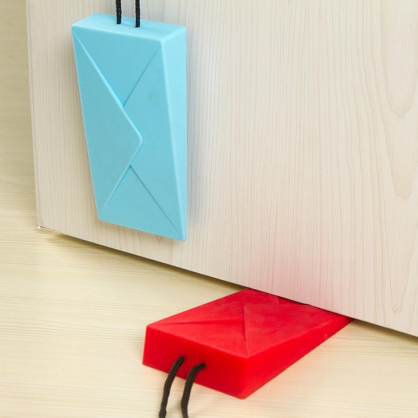 パーチナシティサイクロプス摂氏度封筒型ドアストッパー ドア止め 弾性ある シリコン製 耐震ストッパー 転倒防止 ドアホルダー 玄関 室内に適用 (レッド)