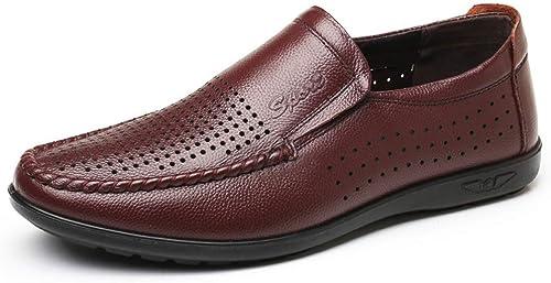 Sandalias de Cuero Planas zapatos de Padre Transpirable Antideslizante Suave y Suave for los hombres Color sólido Juegos Huecos Pies Agujero de la luz zapatos de Cuero Perezosos .zapatos de Moda
