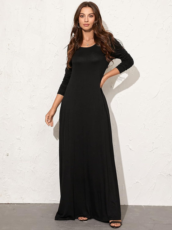 Kidsform Women's Maxi Dress Long Sleeve Loose Plain Kaftan Party Casual Long Dresses with Pockets