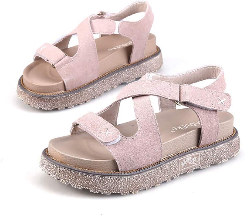 Btrada Women Summer Cross-Strap Personable Sandals Flats Platform Fashion Ladies Casual All Match shoes