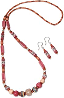 925 Sterling Silver Beaded Jewelry Set 'Rose Inca'