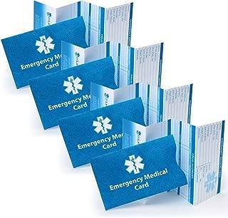 Pack of 4 Emergency Medical ID Cards and Tyvek Sleeves