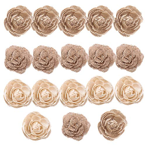 CCINEE Natural Burlap Flowers Assorted Handmade Burlap Rose for Wedding Decoration and Floral Crafts Making, Pack of 18